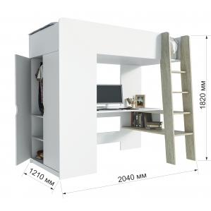 """Кровать-чердак """"Анеси-1"""" Дуб санома/ Белый 2040x1210x1820"""