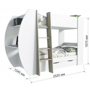 """Кровать 2-х ярусная """"Анеси-2"""" Дуб санома/ Белый 2520x1240x1670"""