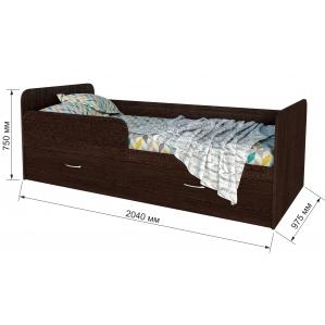 """Кровать """"Анеси-5"""" с ящиками/ Венге/ 2040x975x750"""