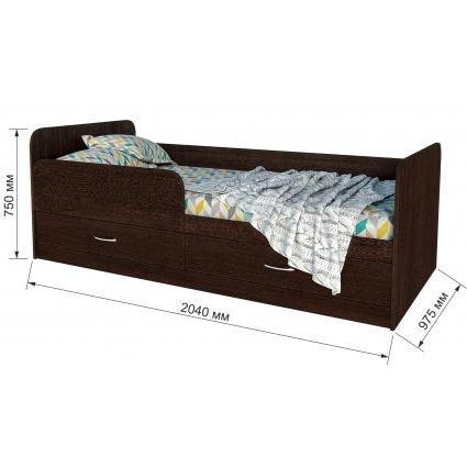 """Кровать """"Анеси-5"""" с ящиками/ Дуб молочный/ 2040x975x750"""