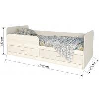 """Кровать """"Анеси-5"""" с ящиками/ Вудлайн кремовый/ 2040x975x750"""