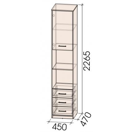 Шкаф комбинированный Innova-V03, Бетон/ Ш450 Г470 В2265
