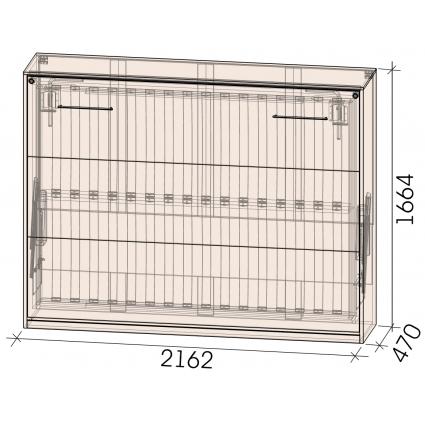 Кровать откид. гориз. Innova-H140, Бетон/ Ш2162 Г470(1610) В1664