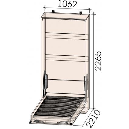 Кровать откид. верт. Innova-V90 (Бетон)/ Ш1062 Г470(2210) В2265