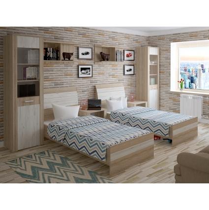 Кровать 90 КЛ-001-3 с основанием Дуб серый-Венге/ Ш1000 В999 Г2149