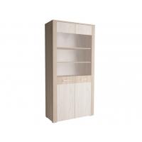 Шкаф двойной с витриной КЛ-03-1 Дуб белый/Санома Ш1002 В2020 Г425