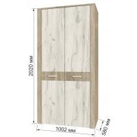 Шкаф для одежды КЛ-03 Дуб белый/Санома Ш1002 В2020 Г580