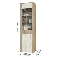 Шкаф пенал с витриной КЛ-05-1 Дуб белый/Санома Ш582 В2020 Г425