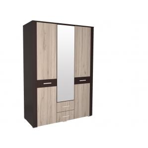 Шкаф комбинированный с зеркалом КЛ-02 Дуб белый/Санома Ш1422 В2020 Г580