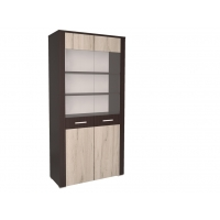 Шкаф двойной с витриной КЛ-03-1 Дуб серый/Венге Ш1002 В2020 Г425