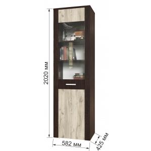 Шкаф пенал с витриной КЛ-05-1 Дуб серый/Венге Ш582 В2020 Г425