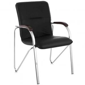 """Офисный стул для посетителей """"САМБА"""" экстра мукс кож/зам черный 530х46.."""
