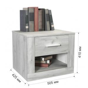 Тумба прикроватная ЛМ-Т Дуб Белый/ Ш505 В415 Г450