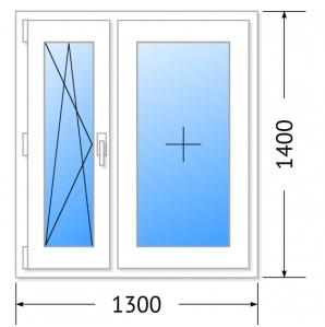 Окно КБЕ, 70мм, 5 камер/ 1300х1400 (Германия)