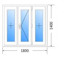 Окно Брюсбокс, 60мм, 3 камер/ 1800х1400