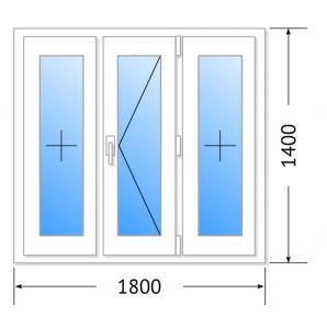 Окно КБЕ, 70мм, 5 камер/ 1800х1400 (Германия)