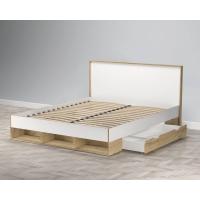 Кровать двойная SC-K160 (Белый Платинум/ Дуб Золотой) Ш1702 В967 Г2056