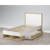 Кровать одинарная SC-K90 (Белый Платинум/ Дуб Золотой) Ш1002 В967 Г2056