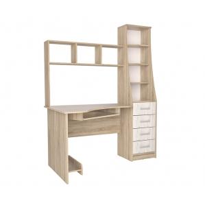 Стол компьютерный СК-004 (Дуб санома/Дуб белый) 1450х1820х900