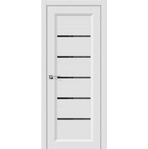 """Дверь межкомнатная """"Эмаль 51"""" Белый/ Черн. вставка"""