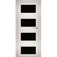 """Дверь межкомнатная """"Амати 02"""" Эшвайт (Черное стекло)"""
