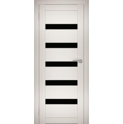 """Дверь межкомнатная """"Амати 03"""" Эшвайт (Черное стекло)"""