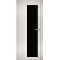 """Дверь межкомнатная """"Амати 09"""" Эшвайт (Черное стекло)"""