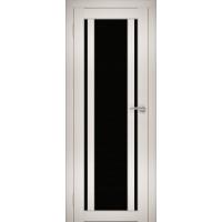 """Дверь межкомнатная """"Амати 11"""" Эшвайт (Черное стекло)"""