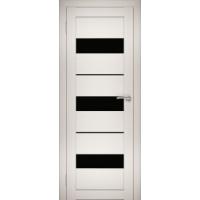 """Дверь межкомнатная """"Амати 12"""" Эшвайт (Черное стекло)"""