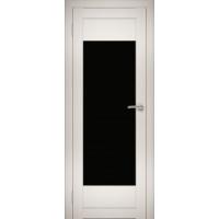 """Дверь межкомнатная """"Амати 14"""" Эшвайт (Черное стекло)"""