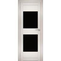 """Дверь межкомнатная """"Амати 15"""" Эшвайт (Черное стекло)"""