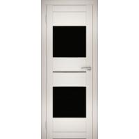 """Дверь межкомнатная """"Амати 16"""" Эшвайт (Черное стекло)"""