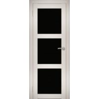 """Дверь межкомнатная """"Амати 20"""" Эшвайт (Черное стекло)"""