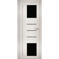 """Дверь межкомнатная """"Амати 21"""" Эшвайт (Черное стекло)"""