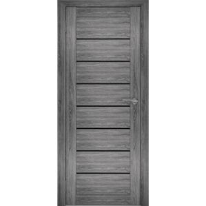 """Дверь межкомнатная """"Амати 01"""" Дуб шале графит (Черное стекло)"""