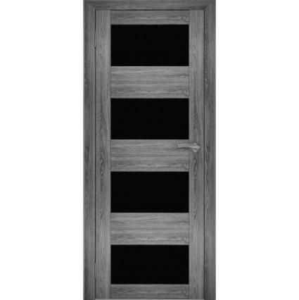 """Дверь межкомнатная """"Амати 02"""" Дуб шале графит (Черное стекло)"""