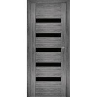 """Дверь межкомнатная """"Амати 03"""" Дуб шале графит (Черное стекло)"""