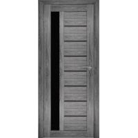 """Дверь межкомнатная """"Амати 04"""" Дуб шале графит (Черное стекло)"""