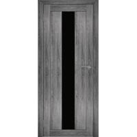 """Дверь межкомнатная """"Амати 05"""" Дуб шале графит (Черное стекло)"""