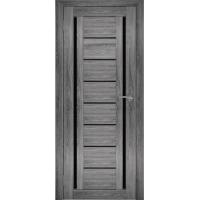 """Дверь межкомнатная """"Амати 06"""" Дуб шале графит (Черное стекло)"""