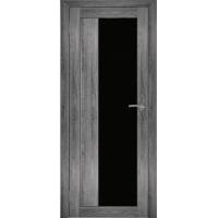 """Дверь межкомнатная """"Амати 09"""" Дуб шале графит (Черное стекло)"""
