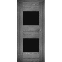 """Дверь межкомнатная """"Амати 16"""" Дуб шале графит (Черное стекло)"""