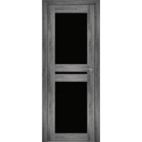"""Дверь межкомнатная """"Амати 19"""" Дуб шале графит (Черное стекло)"""