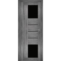 """Дверь межкомнатная """"Амати 21"""" Дуб шале графит (Черное стекло)"""
