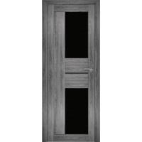 """Дверь межкомнатная """"Амати 22"""" Дуб шале графит (Черное стекло)"""