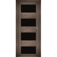"Дверь межкомнатная ""Амати 02"" Дуб шале корица (Черное стекло)"