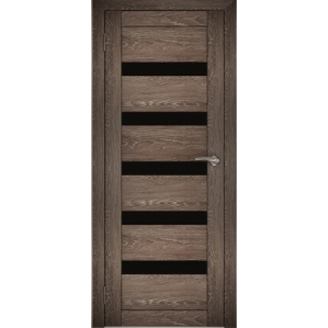 "Дверь межкомнатная ""Амати 03"" Дуб шале корица (Черное стекло)"