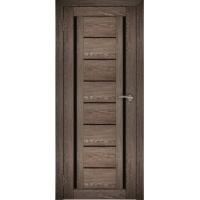 "Дверь межкомнатная ""Амати 06"" Дуб шале корица (Черное стекло)"