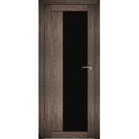 "Дверь межкомнатная ""Амати 09"" Дуб шале корица (Черное стекло)"