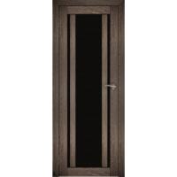 "Дверь межкомнатная ""Амати 11"" Дуб шале корица (Черное стекло)"